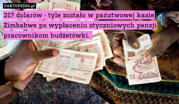 217 dolarów - tyle zostało w państwowej – 217 dolarów - tyle zostało w państwowej kasie Zimbabwe po wypłaceniu styczniowych pensji pracownikom budżetówki.