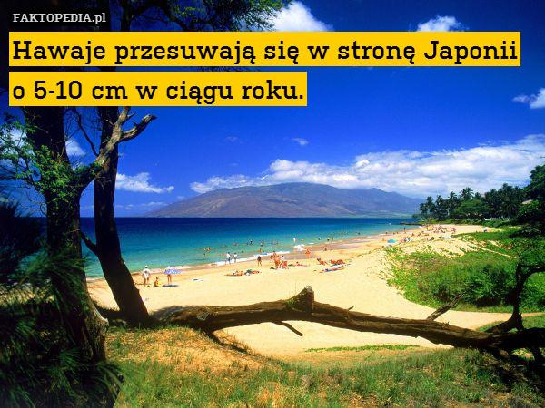 Hawaje przesuwają się w stronę – Hawaje przesuwają się w stronę Japonii o 5-10 cm w ciągu roku.