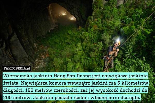 Wietnamska jaskinia Hang Son Doong – Wietnamska jaskinia Hang Son Doong jest największą jaskinią świata. Największa komora wewnątrz jaskini ma 5 kilometrów długości, 150 metrów szerokości, zaś jej wysokość dochodzi do 200 metrów. Jaskinia posiada rzekę i własną mini-dżunglę.