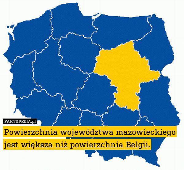 Powierzchnia województwa mazowieckiego – Powierzchnia województwa mazowieckiego jest większa niż powierzchnia Belgii.