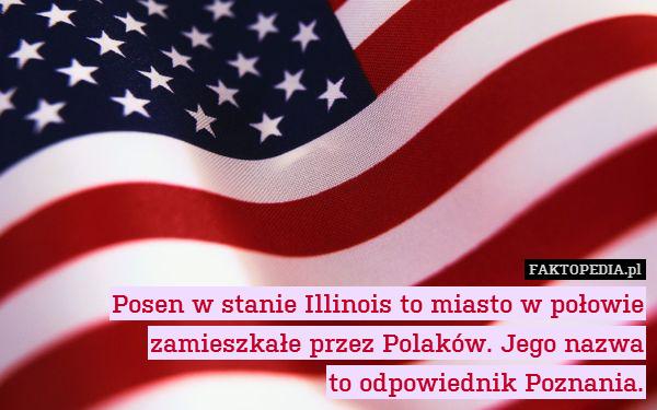 Posen w stanie Illinois to miasto – Posen w stanie Illinois to miasto w połowie zamieszkałe przez Polaków. Jego nazwa to odpowiednik Poznania.