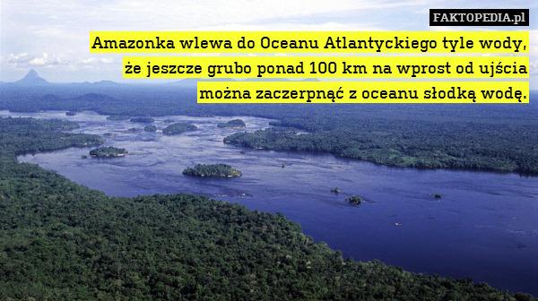 Amazonka wlewa do Oceanu Atlantyckiego – Amazonka wlewa do Oceanu Atlantyckiego tyle wody, że jeszcze grubo ponad 100 km na wprost od ujścia można zaczerpnąć z oceanu słodką wodę.