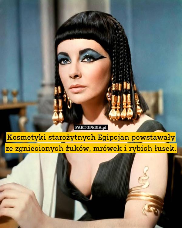 Kosmetyki starożytnych Egipcjan – Kosmetyki starożytnych Egipcjan powstawały ze zgniecionych żuków, mrówek i rybich łusek.
