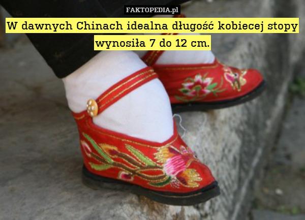 W dawnych Chinach idealna długość – W dawnych Chinach idealna długość kobiecej stopy wynosiła 7 do 12 cm.