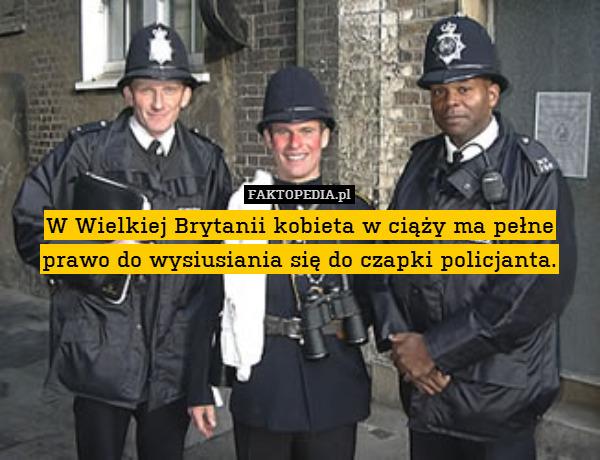 W Wielkiej Brytanii kobieta w – W Wielkiej Brytanii kobieta w ciąży ma pełne prawo do wysiusiania się do czapki policjanta.