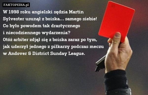 W 1998 roku angielski sędzia Martin – W 1998 roku angielski sędzia Martin Sylvester usunął z boiska… samego siebie! Co było powodem tak drastycznego i niecodziennego wydarzenia? Otóż arbiter zdjął się z boiska zaraz po tym, jak uderzył jednego z piłkarzy podczas meczu w Andover & District Sunday League.