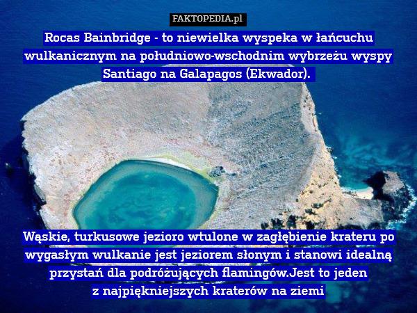 Rocas Bainbridge - to niewielka – Rocas Bainbridge - to niewielka wyspeka w łańcuchu wulkanicznym na południowo-wschodnim wybrzeżu wyspy Santiago na Galapagos (Ekwador).          Wąskie, turkusowe jezioro wtulone w zagłębienie krateru po wygasłym wulkanie jest jeziorem słonym i stanowi idealną przystań dla podróżujących flamingów.Jest to jeden  z najpiękniejszych kraterów na ziemi