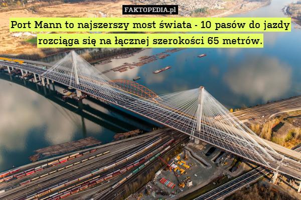Port Mann to najszerszy most świata – Port Mann to najszerszy most świata - 10 pasów do jazdy rozciąga się na łącznej szerokości 65 metrów.