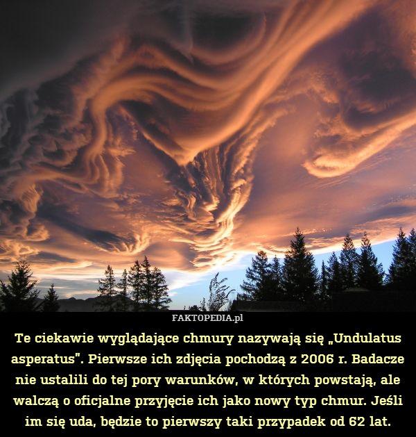 """Te ciekawie wyglądające chmury – Te ciekawie wyglądające chmury nazywają się """"Undulatus asperatus"""". Pierwsze ich zdjęcia pochodzą z 2006 r. Badacze nie ustalili do tej pory warunków, w których powstają, ale walczą o oficjalne przyjęcie ich jako nowy typ chmur. Jeśli im się uda, będzie to pierwszy taki przypadek od 62 lat."""