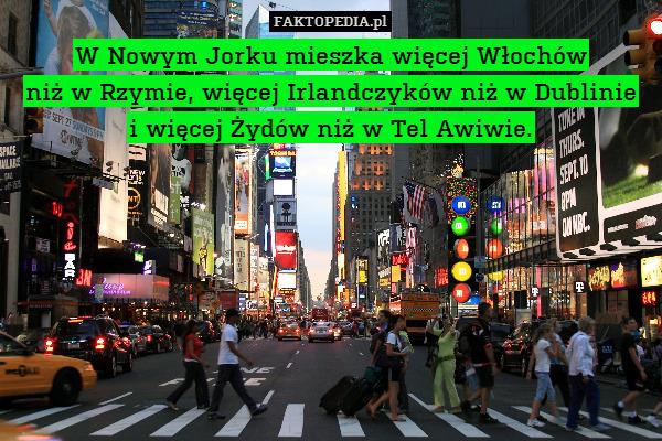 W Nowym Jorku mieszka więcej Włochów – W Nowym Jorku mieszka więcej Włochów niż w Rzymie, więcej Irlandczyków niż w Dublinie i więcej Żydów niż w Tel Awiwie.