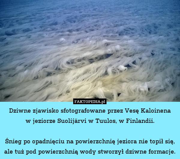 Dziwne zjawisko sfotografowane – Dziwne zjawisko sfotografowane przez Vesę Kaloinena w jeziorze Suolijärvi w Tuulos, w Finlandii.  Śnieg po opadnięciu na powierzchnię jeziora nie topił się, ale tuż pod powierzchnią wody stworzył dziwne formacje.