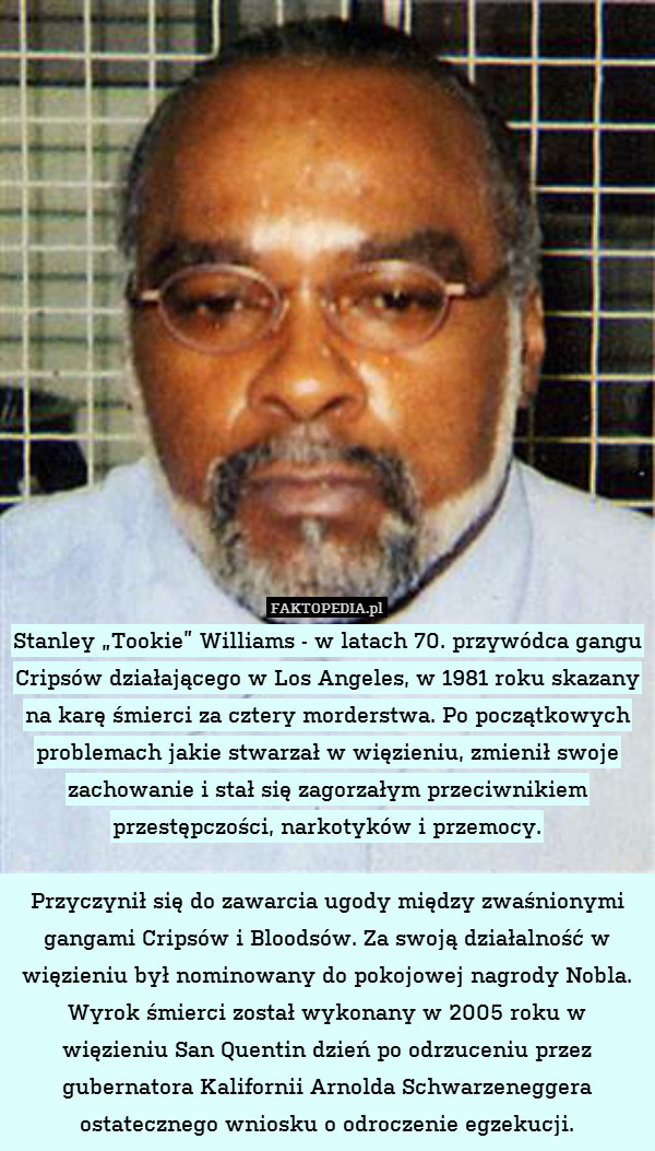 a perspective on the biography of stanley tookie williams Stanley williams bio/wiki, net worth, married 2018 stanley tookie williams iii (december 29, 1953 – december 13, 2005) was a leader of the crips, a violent american street gang which has its roots in south central los angeles in 1969.
