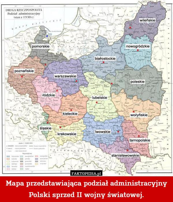 Mapa Przedstawiajaca Podzial Administracyjny Polski Sprzed Ii
