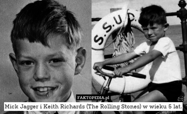 Mick Jagger i Keith Richards (The Rolling Stones) w wieku 5 lat.