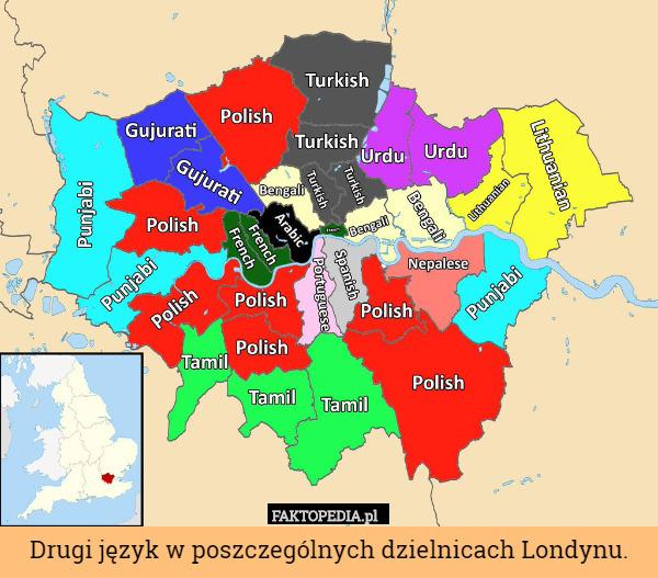 Drugi język w poszczególnych dzielnicach Londynu. – Drugi język w poszczególnych dzielnicach Londynu.