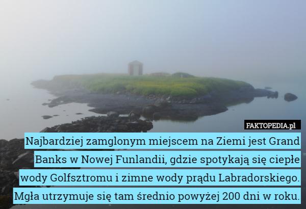 Najbardziej zamglonym miejscem na Ziemi jest Grand Banks w Nowej Funlandii, – Najbardziej zamglonym miejscem na Ziemi jest Grand Banks w Nowej Funlandii, gdzie spotykają się ciepłe wody Golfsztromu i zimne wody prądu Labradorskiego. Mgła utrzymuje się tam średnio powyżej 200 dni w roku.
